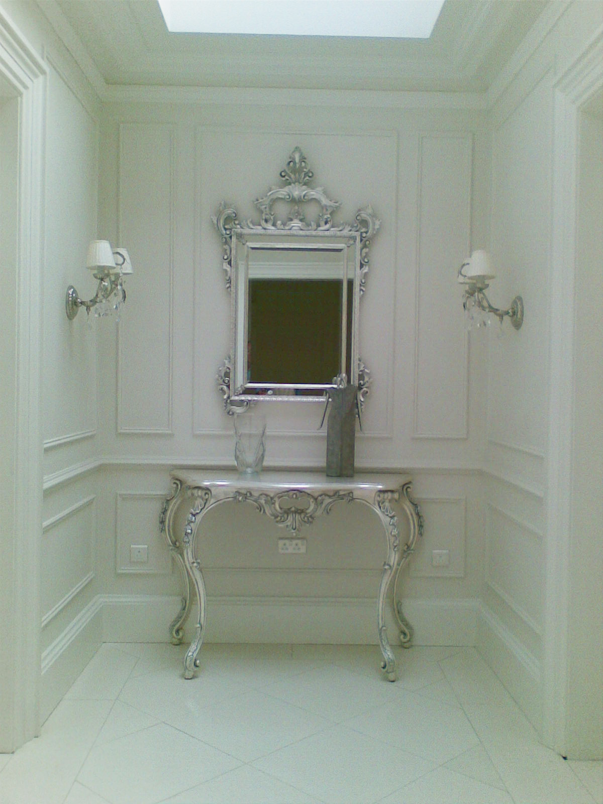 Silver Leafed Console & Mirror
