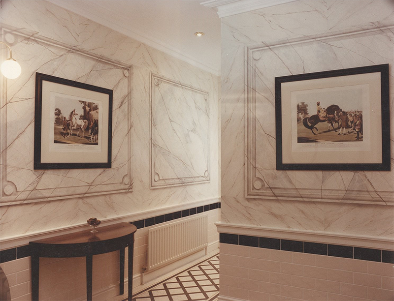K Club Faux Marble Panelled Hallway